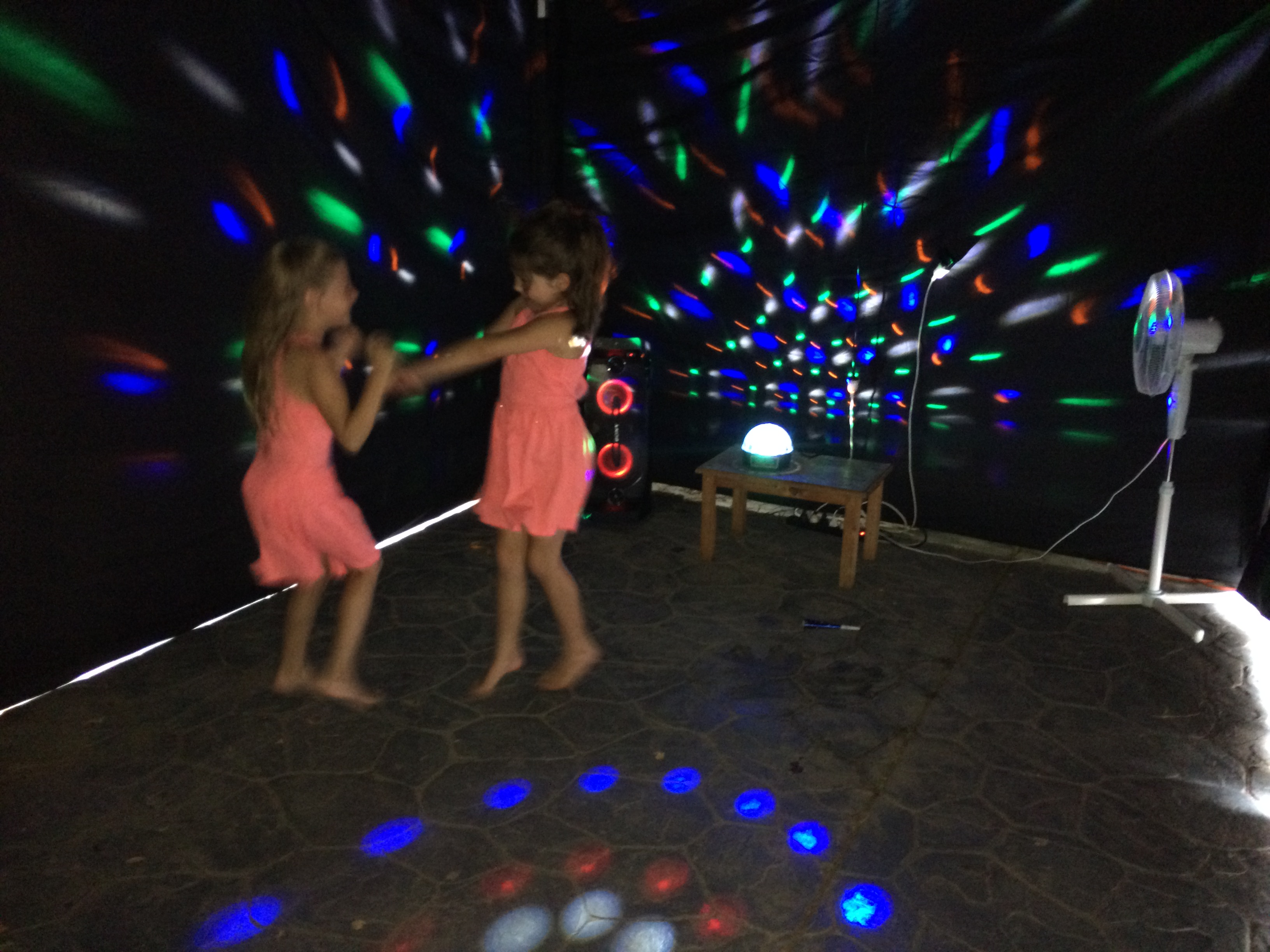 Lighting effect is better on dull overcast days and at dark but still has a great and more than suitable affect in daytime in direct sunlight. & Disco party - Kids Disco hire
